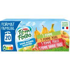 POM'POTES Gourdes pomme poire fraise banane sans sucres ajoutés sans conservateur 20x90g