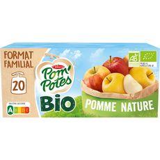 POM'POTES Gourdes bio pomme nature sans sucres ajoutés sans conservateur 20x90g
