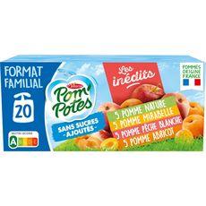 POM'POTES Gourdes pomme mirabelle pêche abricotsans sucres ajoutés panaché 20x90g