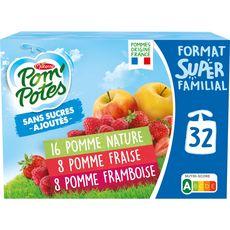 POM'POTES Gourdes pomme fraise framboise sans sucres ajoutés sans conservateur 32x90g