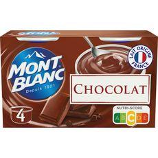 MONT BLANC Crème dessert saveur chocolat extra fin 4x125g