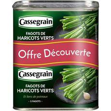 CASSEGRAIN Haricots verts extra-fins en fagots et liens de poireaux 2x5 fagots 2x220g