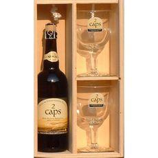 2 CAPS Bière coffret en bois 6% + 2 verres 75cl