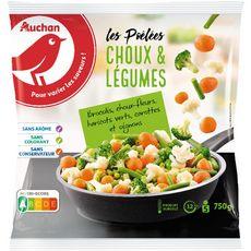 AUCHAN Poêlée choux et légumes 5 portions 750g