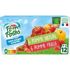 POM'POTES Gourdes pomme nature pomme fraise sans sucres ajoutés 12 gourdes 1,08kg