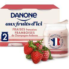 DANONE Aux Fruits d'Ici Yaourt à la fraise et à la framboise 2x145g