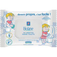 BIOLANE Lingettes papier toilette hypoallergéniques pour bébé 54 lingettes