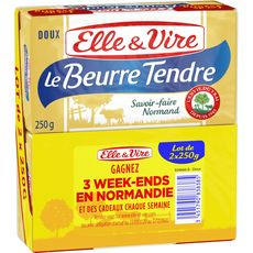 ELLE & VIRE Elle & Vire Beurre tendre doux 2x250g 2x250g