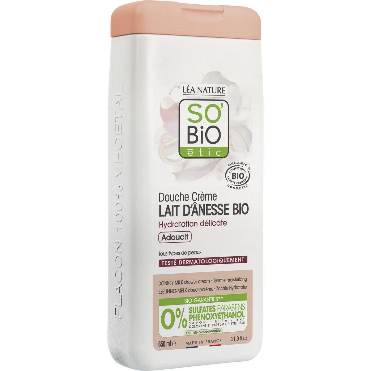 So'Bio étic Douche crème bio lait d'ânesse tous types de peaux 650ml