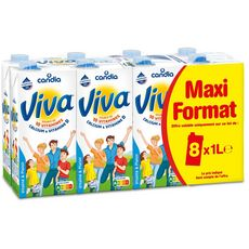 Candia Viva Lait nature UHT vitamines 8x1l
