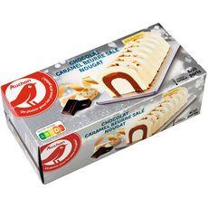AUCHAN Bûche glacée au chocolat nougat et caramel au beurre salé 8-10 parts 545g