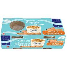 JOSE DALGE Petits pots de crème glacée vanille canistrelli 2x80g