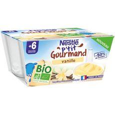NESTLE P'tit onctueux petit pot dessert lacté vanille bio dès 6 mois 4x90g
