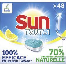 SUN Pastilles lave-vaisselle tout en 1 efficace en un seul lavage citron 48 lavages 48 pastilles