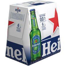 HEINEKEN Bière blonde sans alcool 0,0% bouteilles 6x25cl