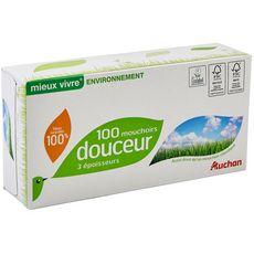 AUCHAN MIEUX VIVRE Boîte de mouchoirs blancs écolabel 3 épaisseur 100 mouchoirs