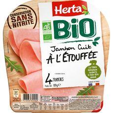 HERTA Herta Jambon cuit à l'étouffé sans nitrite bio sans couenne 4 tranches 120g 4 tranches 120g