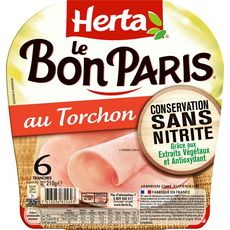 Herta Le bon Paris Jambon au torchon sans nitrite 6 tranches 210g