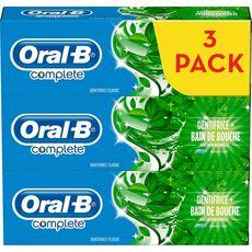 ORAL-B Dentifrice + bain de bouche  fraîcheur naturelle 3x75ml