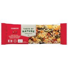 TASTE OF NATURE Taste Of Nature Barre céréales cranberries bio 40g 40g