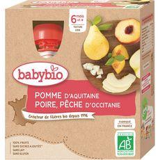 Babybio BABYBIO Gourde dessert pomme poire pêche bio dès 6 mois