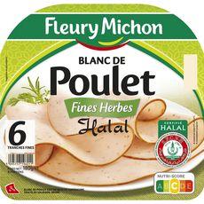 FLEURY MICHON Blanc de poulet halal 6 tranches 180g