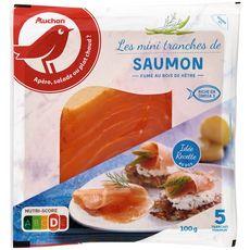 AUCHAN Saumon fumé mini-tranches 5 pièces minimum 100g
