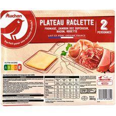 AUCHAN Plateau raclette fromage, jambon sec, bacon, rosette 2 pers