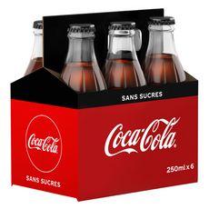 COCA-COLA Boisson gazeuse aux extraits végétaux zéro bouteilles verre 6x25cl