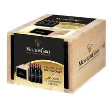 MOUTON CADET AOC de Bordeaux rouge avec caisse de rangement en bois 6X75cl 4.50L