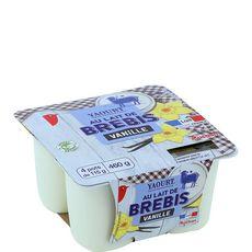 AUCHAN Yaourt à la vanille au lait de brebis 4x115g