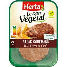 HERTA Steak gourmand végétal au soja, poivre et persil 2 pièces 160g