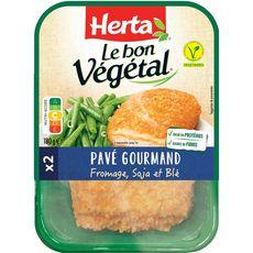 HERTA Pavé gourmand végétal au fromage, soja et blé 2 pièces 180g