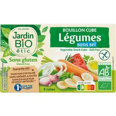 JARDIN BIO ETIC Bouillon cube de légumes sans sel ni gluten 8x9g