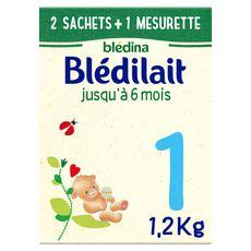 BLEDINA Blédilait 1 lait 1er âge en poudre dès la naissance  2 sachets + 1 mesurette 1,2kg