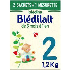 BLEDINA Blédilait 2 lait 2ème âge en poudre dès 6 mois 2 sachets + 1 mesurette 1,2kg