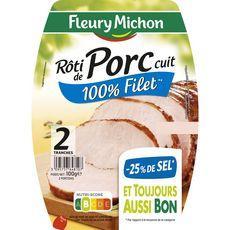 FLEURY MICHON Rôti de porc cuit 100% filet sel réduit 2 tranches 100g