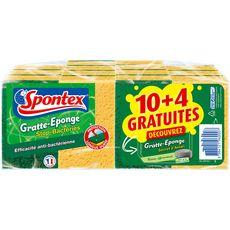 SPONTEX Gratte-éponge stop bactéries secret d'antan 12+4 offertes