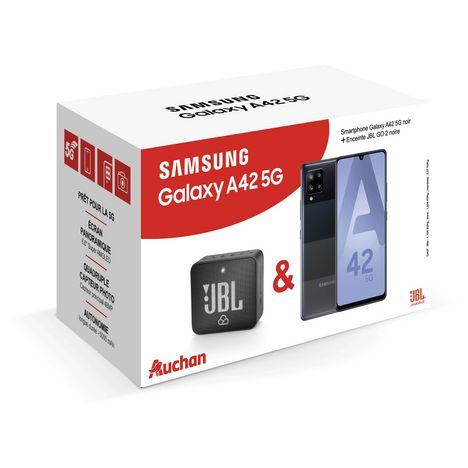 SAMSUNG Smartphone Galaxy A42 128 Go 6.6 pouces Noir 5G + Mini enceinte portable Bluetooth - Noir - GO 2
