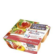 Charles & Alice pomme pêche sans sucre ajouté 4x100g