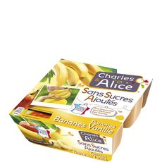 Charles & Alice pomme banane vanille ss sucre ajouté 4x100g
