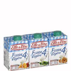 ELLE & VIRE Crème fluide légère 4%MG UHT 3x20cl
