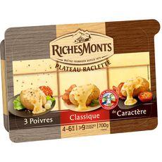 RICHESMONTS Plateau de 3 fromages à raclette tranches 4 à 6 personnes 700g