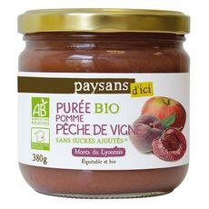 PAYSANS D'ICI Purée pomme pêche de vigne bio  380g