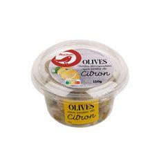 AUCHAN Olives vertes dénoyautées au zeste de citron 150g