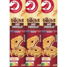 AUCHAN Mon Goûter carré biscuits au chocolat lot de 3X16 360g