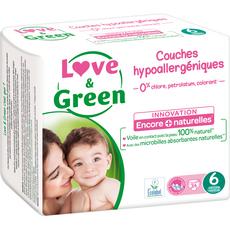 LOVE ET GREEN Couches hypoallergénique taille 6 (+15kg) 34 couches