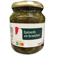 AUCHAN Epinards en branches bocal 215g