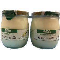 DOMAINE DE GRIGNON Yaourt à la vanille pot en verre 2x125g