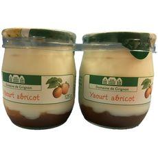 DOMAINE DE GRIGNON Yaourt à l'abricot pot en verre 2x125g